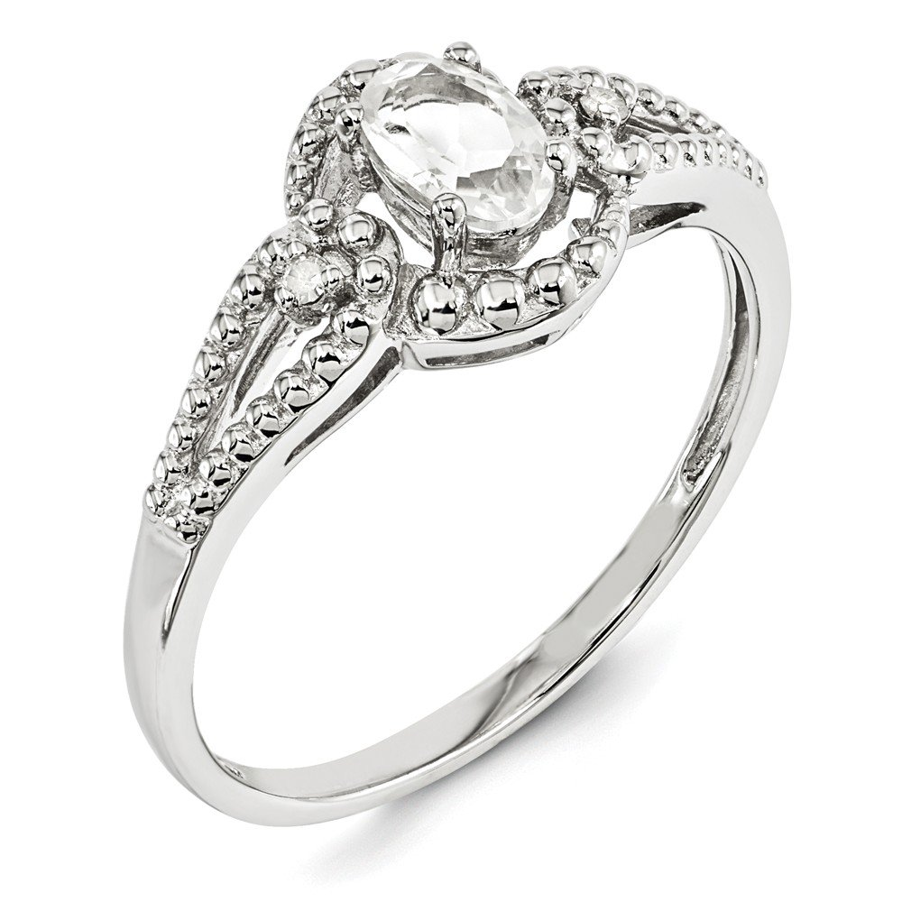 2mm Sonia Jewels Sterling Silver White Simulated Topaz /& Diamond Ring