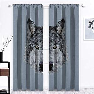 "shirlyhome Patio Curtains Wolf Window Panel Set Wolf Portrait with Beautiful Gaze Sublime Animal Illustration Canine Beast 72"" x 84"" Black Beige Bluegrey 2 Panels"