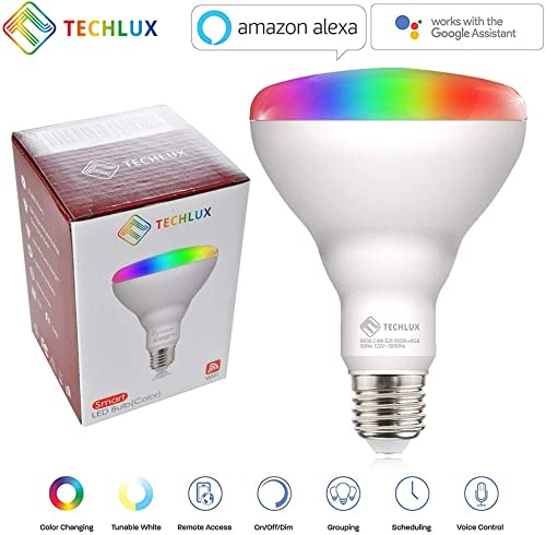 TECHLUX Smart WiFi LED Lights Bulbs BR30 RGBCW Dimmable and Cool White to Warm White,No Hub Required,iOS Andriod APP Remote Control,Compatible