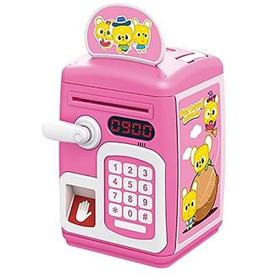 Banco de dinero Mini simulación de huellas dactilares Inducción Piggy Banks Ahorre dinero Moneda para niños Caso de bloqueo de contraseña con música azul claro y rosa Ideal para todas las edades: Hogar