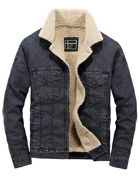 Winter Robo Men's Slim Denim Jacket Lined Fit Cowboy Sherpa VzqpUGSM