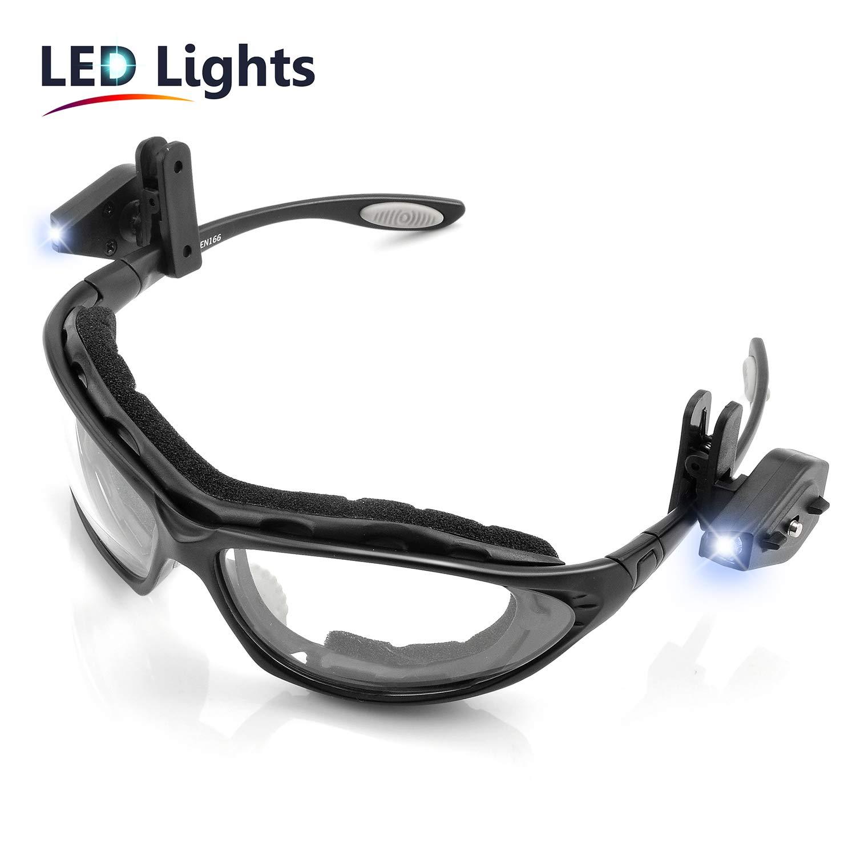 SAFEYEAR Luz LED Gafas de Seguridad Lectura Antiempañamiento -SG002-L Gafas Protectoras trabajo Bicicleta con Protección UV laboral laboratorio antivaho para cortar cebolla deporte