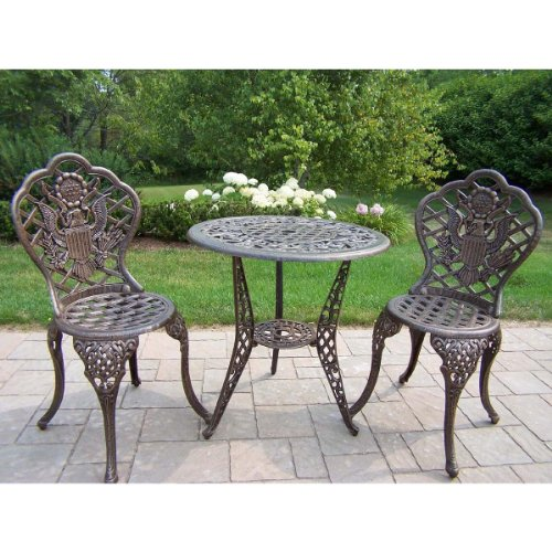Oakland Living American Eagle Cast Aluminum 24-Inch Glass Top Table with 3-Piece Bistro (3 Piece Glass Top Table)