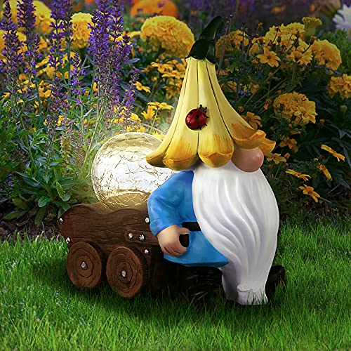 Grovind Garden Gnomes Statues, Solar Gnomes Decorations Carrying Magic Orb with LED Lights, Outdoor Gnome Figurines…