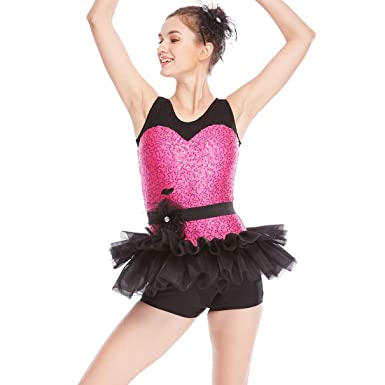 6685b8219 MiDee Jazz Dance Costume Sequins Sweetheart Black Lace Tank Top Biketard 1  Piece 2 Colors (