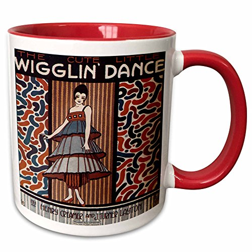 (3dRose BLN Vintage Song Sheet Covers Reproductions - The Cute Little Wiggle Dance Woman in 20s Style Dress Dancing - 15oz Two-Tone Red Mug (mug_171114_10))