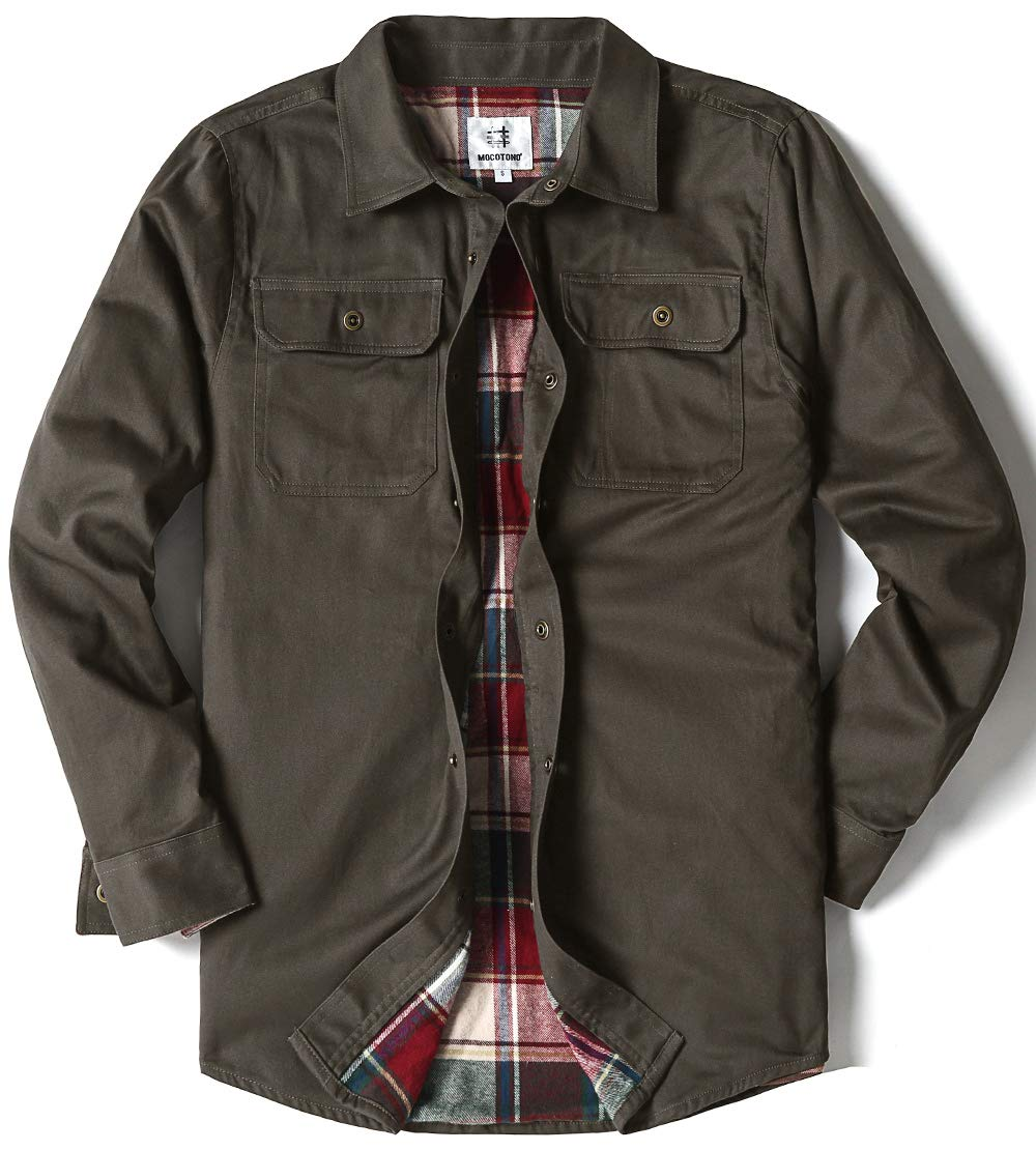 Men's Heavyweight Canvas Flannel Lined Shirt Jacket, Dark Coffee Large by MOCOTONO