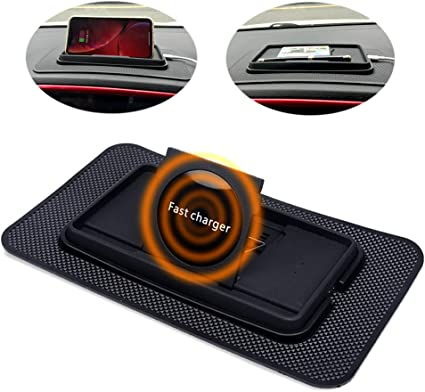 Fast Wireless Car Qi Charger, JCWINY 10W Wireless Charging Pad Phone Holder, Non Slip Dashboard Wireless Charging Mat for iPhone and Samsung and All