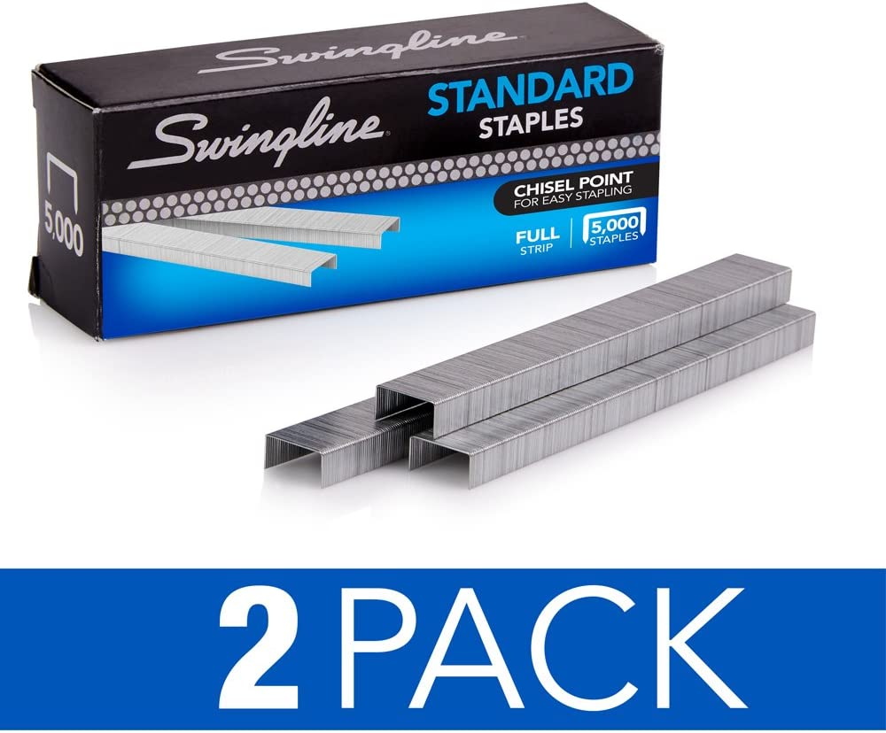 "Swingline Staples, Standard, 1/4"" Length, 210/Strip, 5000/Box, 2 Pack (35107)"