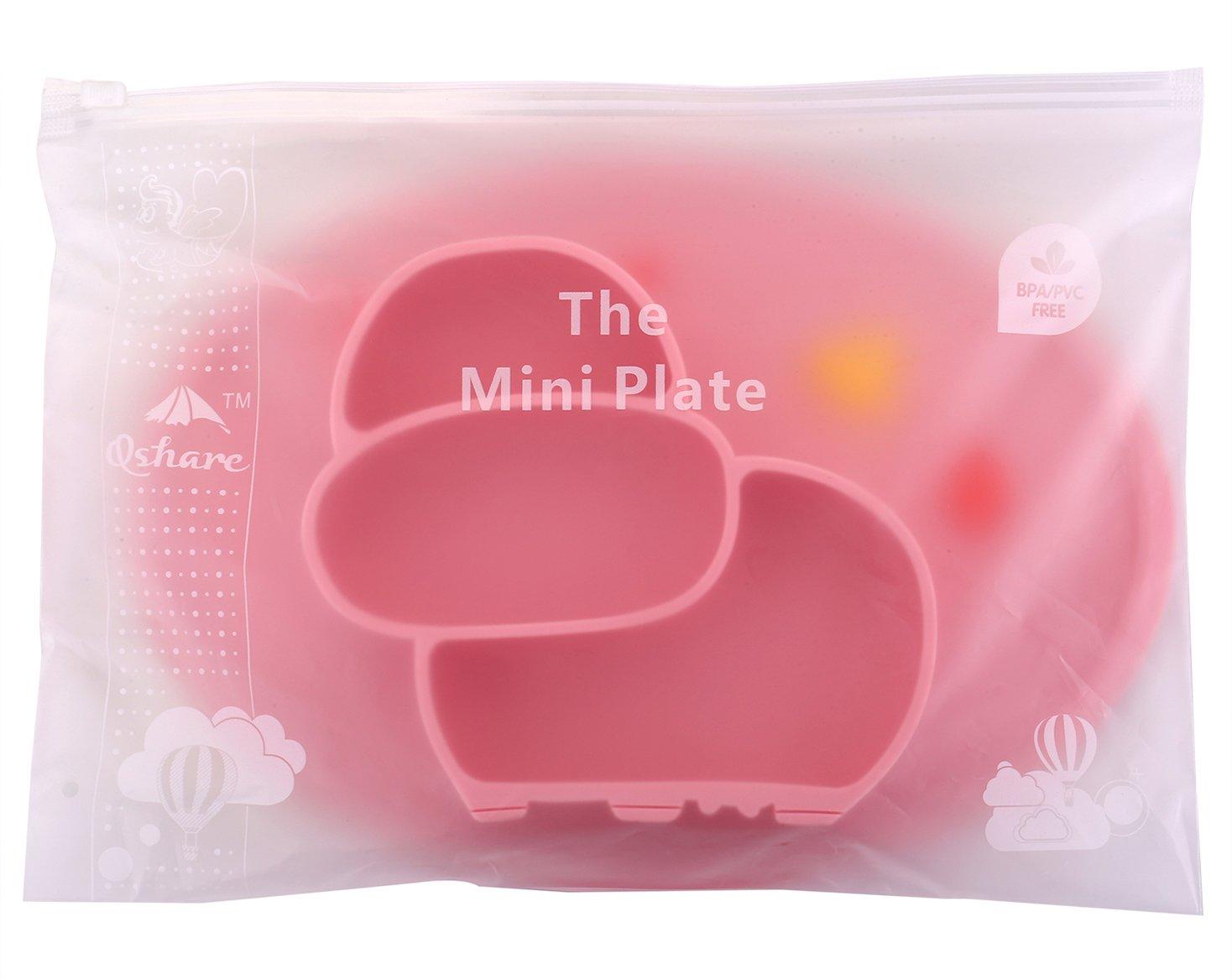Kleinkindplatte Tragbare von der FDA zugelassene starke Saugplatte f/ür Kleinkinder Babyplatte f/ür Kleinkinder und Kinder BPA-freie Qshare