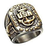 united states army ring - JAJAFOOK Men's Gold Plated Anchor United States USN Navy Military US Army Marine Biker Ring