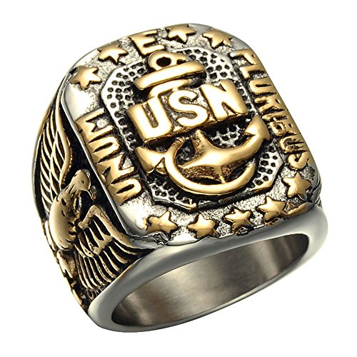 JAJAFOOK Men's Gold Plated Anchor United States USN Navy Military US Army Marine Biker ()