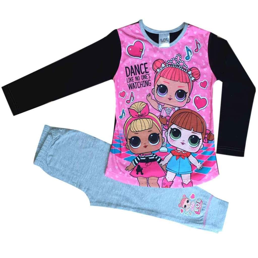 LOL Surprise Dolls Girls Pyjamas L.O.L Pink and Grey 4 to 10 Years
