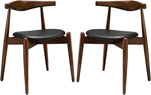 Modway Stalwart Mid-Century Modern Faux Leather Upholstered Two Dining Chair