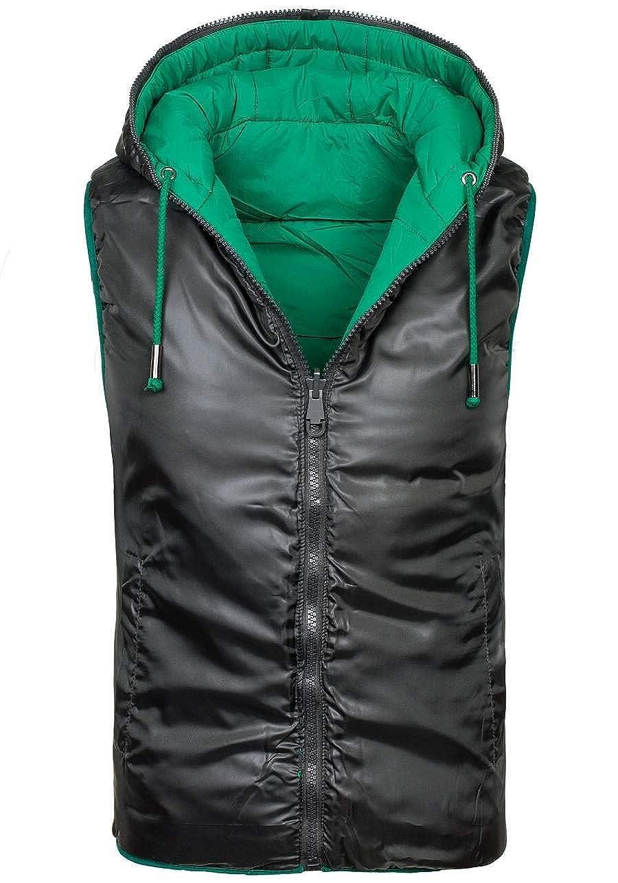 Sportivo Trapuntato Di moda BOLF Gilet A zip Da uomo 4D4 Senza cappuccio