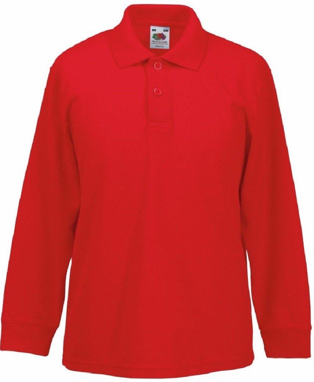 Absab Ltd 3 Pack FOTL Childrens Long Sleeve School Wear Uniform Kids Plain Polo Shirt SS45B