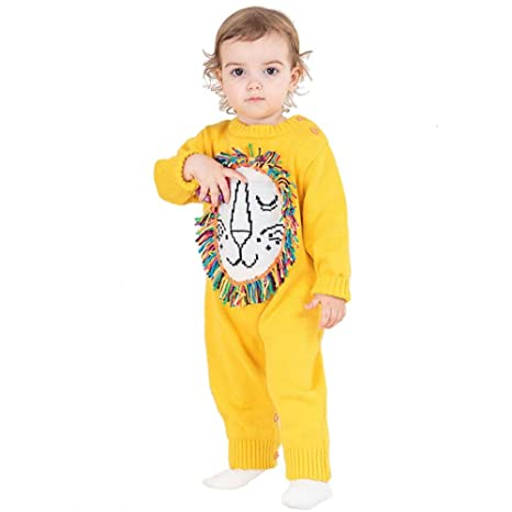FJY Bebé Lana Peleles Otoño Invierno Suéter De Punto Manga Larga Crawling Clothing , yellow ,