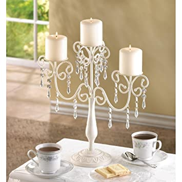 Amazon Candleholders Canelabras Ivory White Beaded Crystal