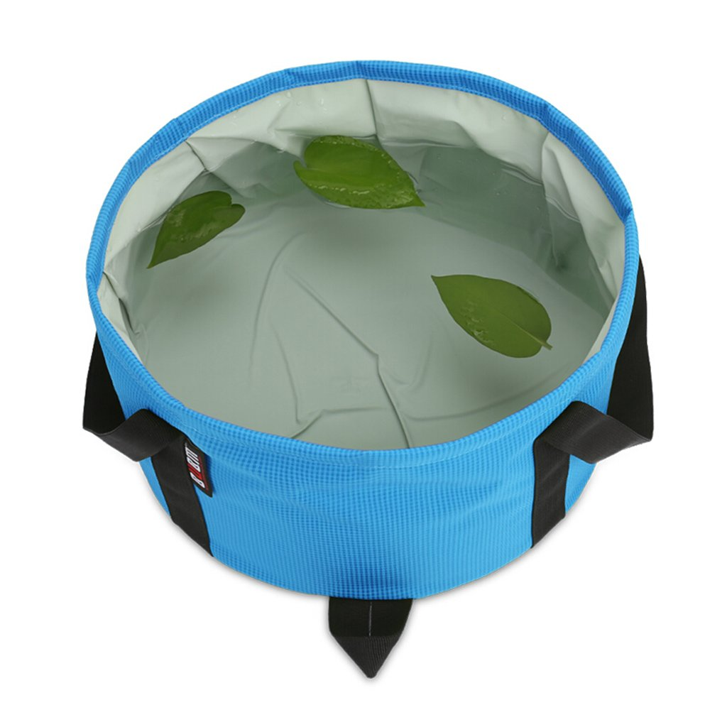 Peaceip Folding Bucket Bag Travel Foot Bag Wash Basin Outdoor Laundry Tub Blue (Size : S)