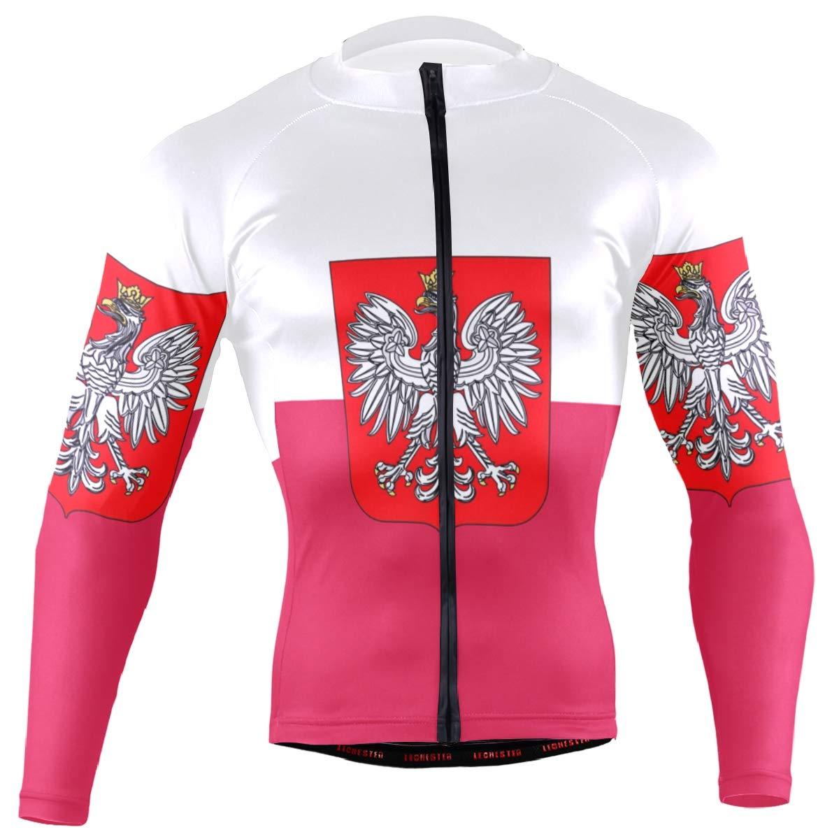 Men's Cycling Jersey Long Sleeve with 3 Rear Pockets Shirt Poland Flag National Emblem by CHINEIN