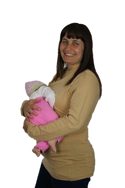 BabyTENS Maternity nursing breastfeeding top t shirt Chocolate Brown or Caramel sizes 8 10 12 14 16