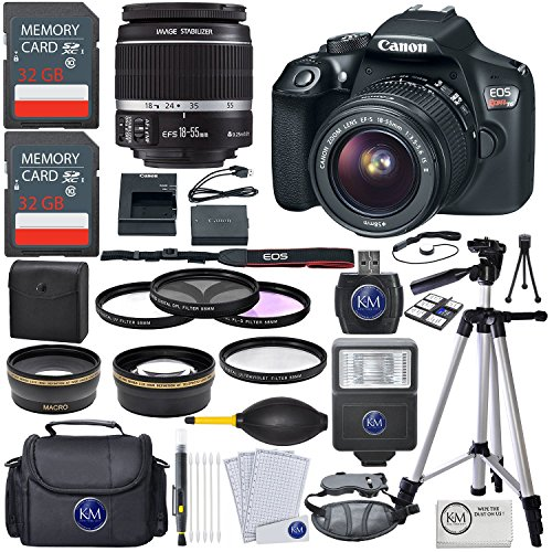 SLR Camera w/ EF-S 18-55mm Lens + Premium Accessory Bundle (18 Mp Aps)