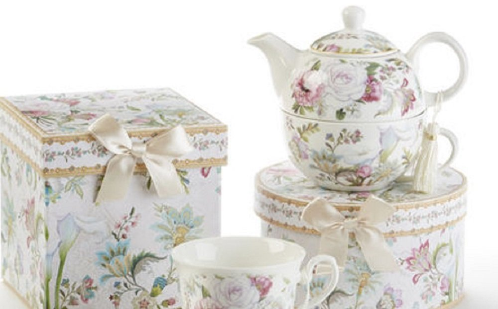 5.8' Porcelain Tea for One, Pale Rose 8120-1