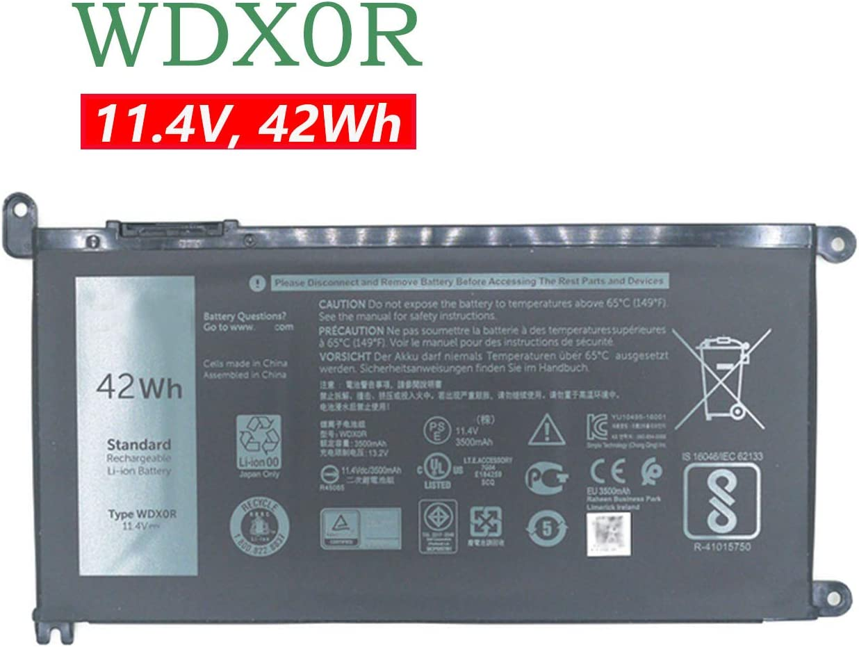 BOWEIRUI Replacement Laptop Battery for Dell WDX0R (11.4V 42Wh) Inspiron 15 5568 7560 5567 13 7368 13 5378 14-7460 17-5770 13 5379 15 7570 Series WDXOR T2JX4 0T2JX4 3CRH3 03CRH3 FC92N 0FC92N