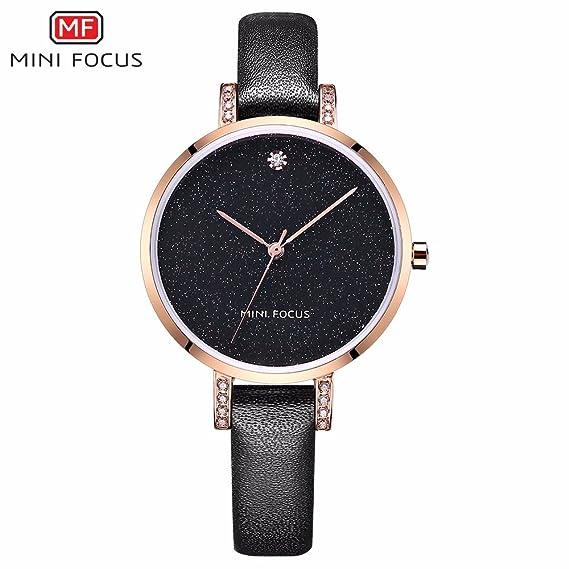 HWCOO Relojes de pulsera MINI FOCUS/reloj para mujer/moda/movimiento japonés/impermeable/correa de cuero/spot supply directo 0159L Relojes de pulsera (Color ...