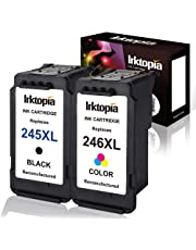 Inktopia 1 set Remanufactured Ink Cartridges Replacement For Canon PG-245XL CL-246XL 245 XL 246 XL Ink Cartridges Combo Pack (1 Black+1 Tri-Color) With Ink Level Indicator Used In Canon PIXMA iP2820 MG2420 MG2520 2920 MG2922 MG2924 MX492 MX490 Printer