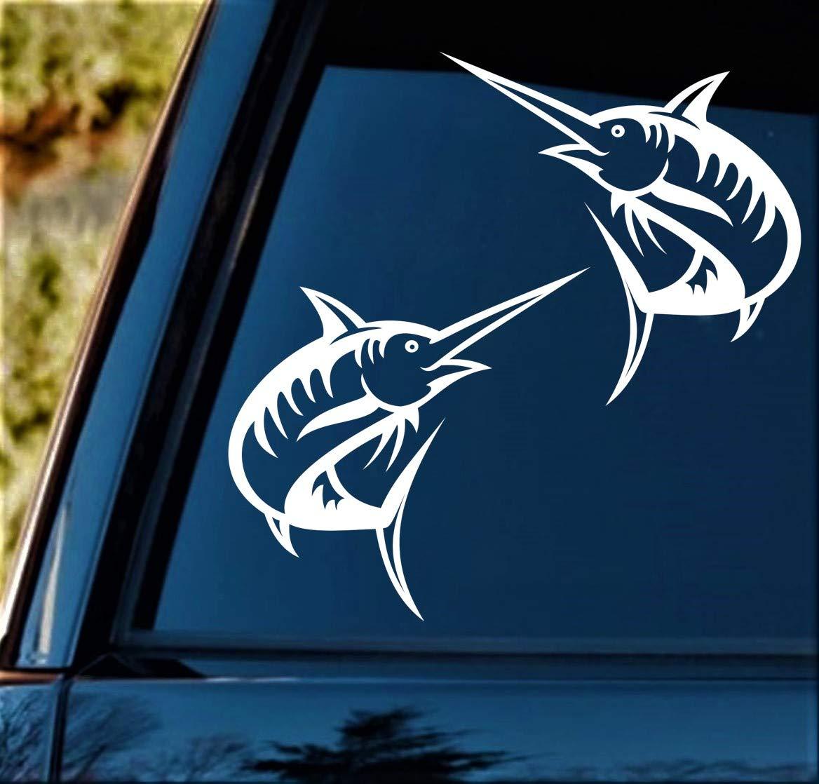 Marlin Deep Sea Fishing Decal Sticker Set for Car Window 5 Inch BG 407