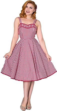 2fe6753dc63ea5 Sheen Damen Kleid Anngie Vintage Gingham Träger Swing Dress: Amazon ...