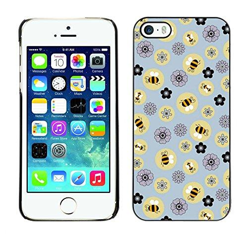 TopCaseStore / caoutchouc Hard Case Housse de protection la Peau - Bee Flowers Pattern Yellow - Apple iPhone 5 / 5S