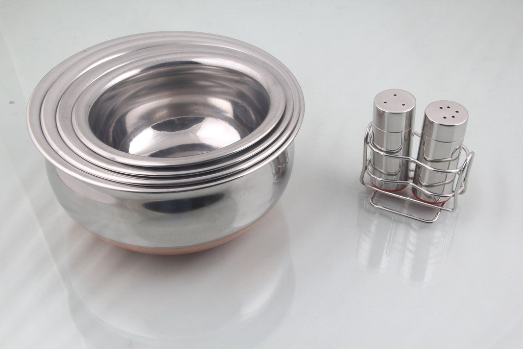 Combo Offer - Stainless Steel Handi Copper Bottom Set of 4 and Stainless Steel Table Accessories Of Salt and Paper