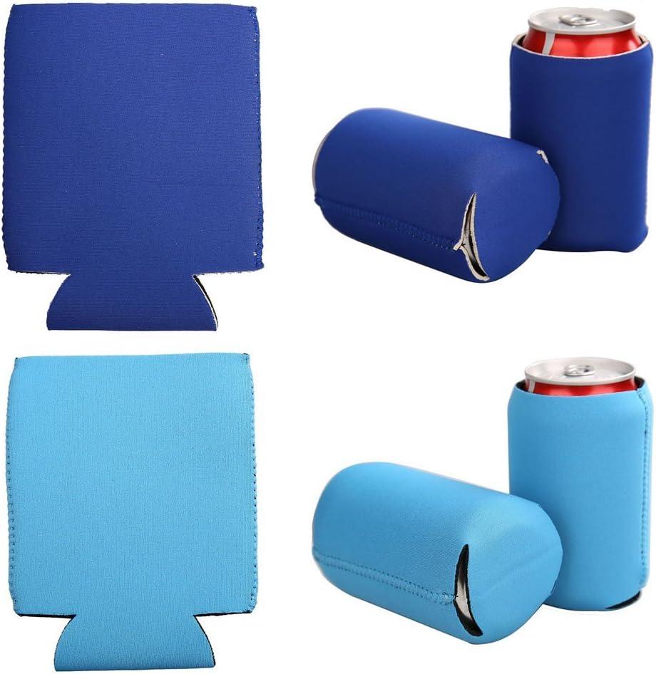 E-Living 330ML (12 OZ) Collapsible Neoprene Can/Beer/Bottle/Beverage Cooler/Coolie/Cover/Insulator/Holder/Huggie/Sleeve for Cola/Beer/Soda - 6 Pack (Bluish)