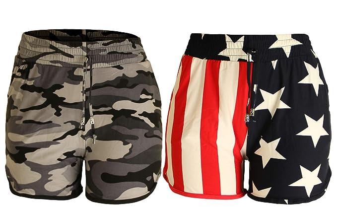 Aracci US Women s Summer Casual American Flag Shorts 2 Pack  bd81248075