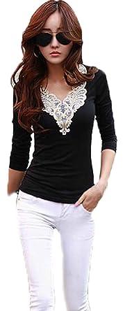 Amazon.com: Fire Loli Women's Lace Shirts Short Sleeve Women's ...