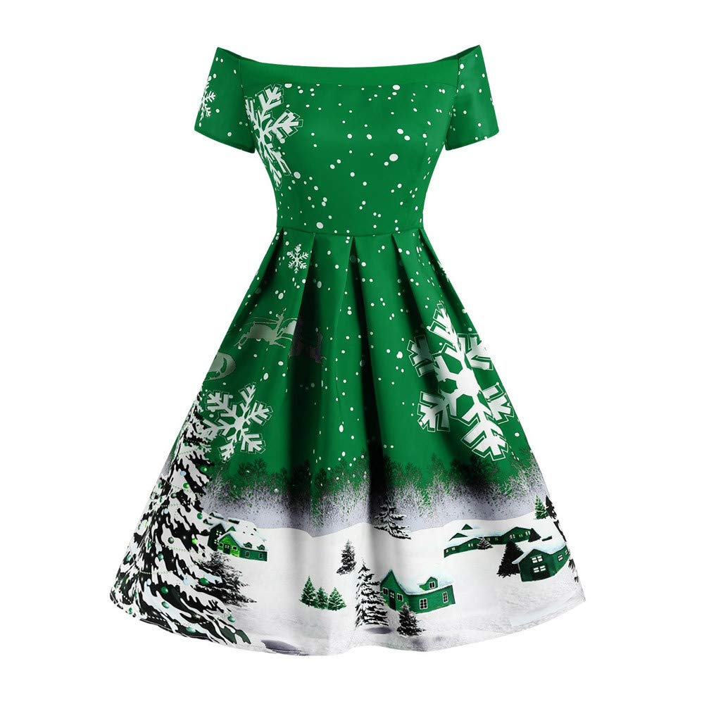 Damen Weihnachten Kleid,Dasongff Off Shoulder A-Linie Weihnachtskleid Snowflake Printing Partykleid Swing Kleider, Ärmelos Christmas Dress,Weihnachts Frauen Kleidung