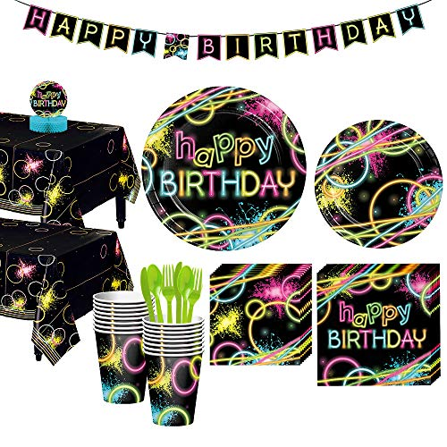 Party City Neon Party Tableware Kit for 16 Guests, 132 Pieces, Includes Plates, Napkins, Utensils, and Decorations -