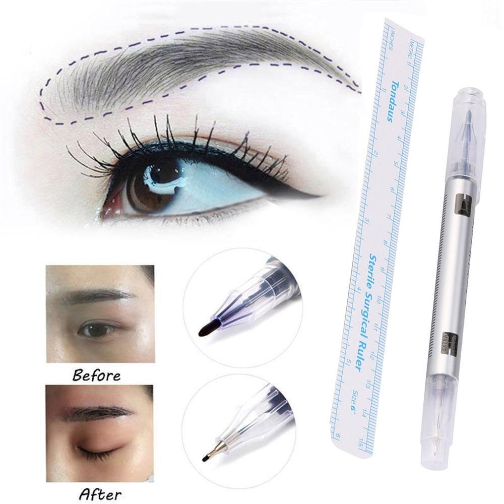 FTXJ Makeup Permanent Eyebrow Tattoo Skin Marker Scribe Pen with Measuring Ruler
