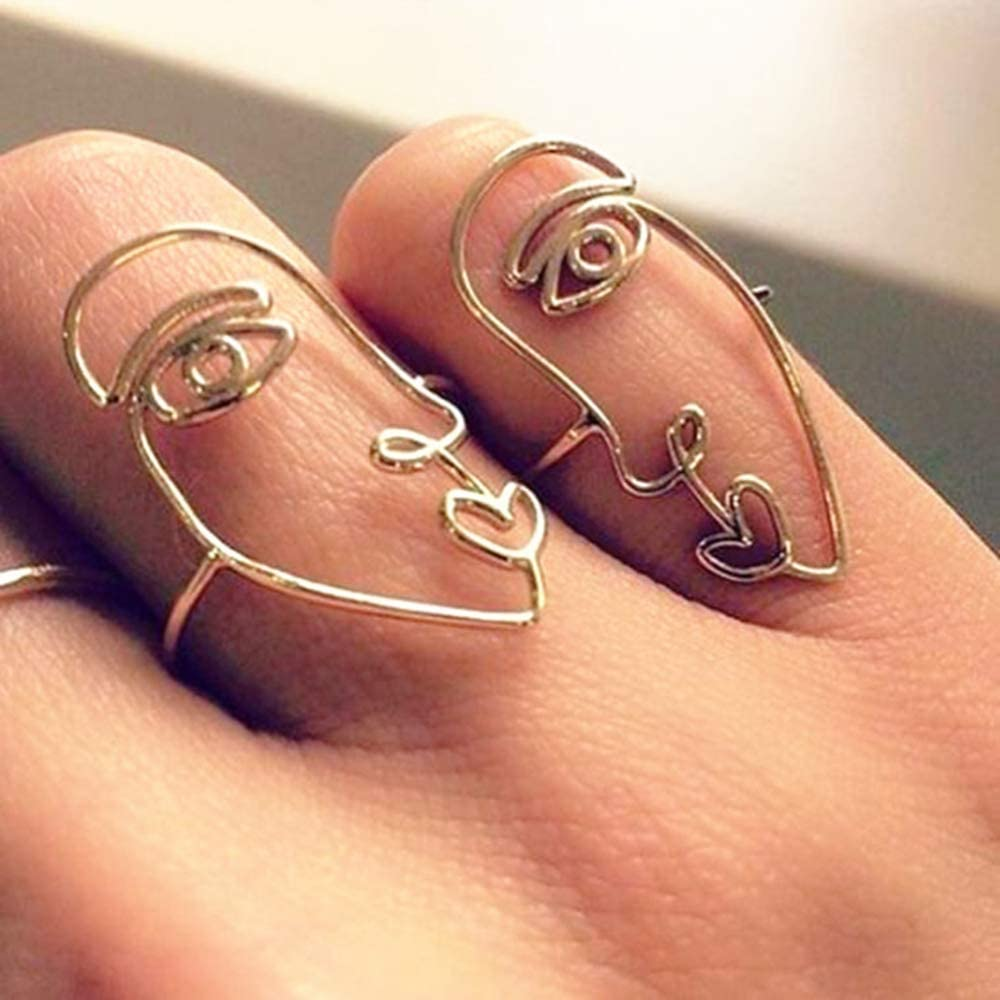 Metal Hollow Mask Fun Ring 1 Pair Creative Personality Exaggerated National Style Jewelry Accessories for Unisex Alloy Human Face Set Rings