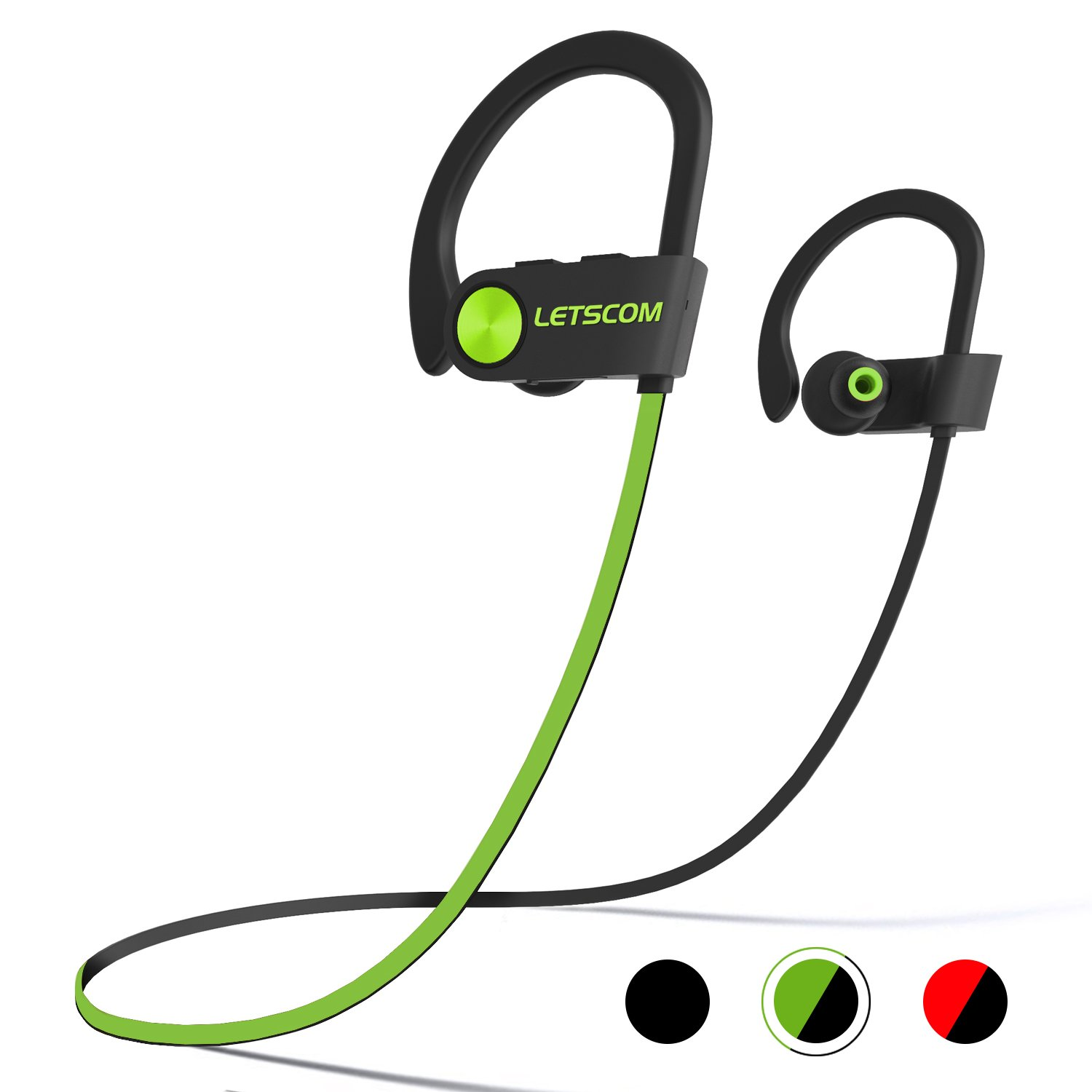 LETSCOM Headphones IPX7 Waterproof, Wireless Sport Earphones HiFi Bass Stereo Sweatproof Earbuds w/Mic, Noise Cancelling Headset for Workout, Running, Gym, 8 Hours Play Time