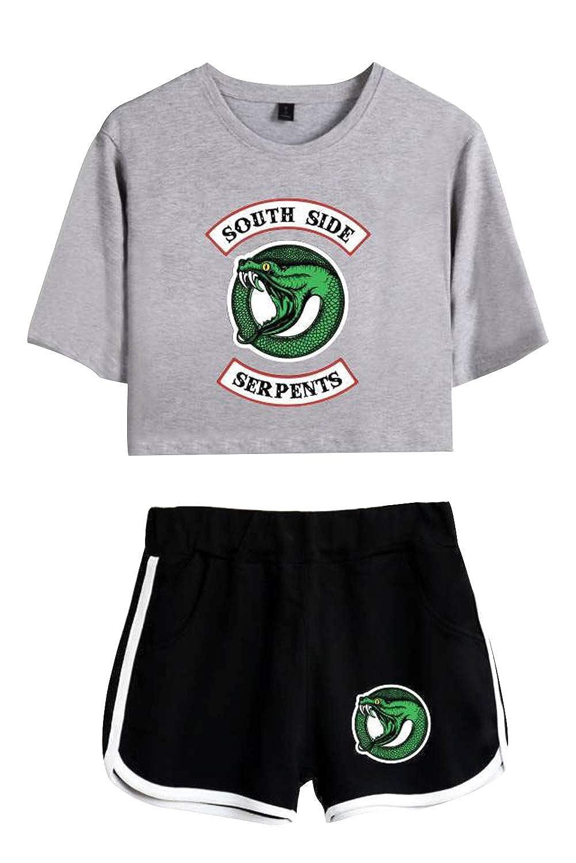 Riverdale Southside Serpents Crop Top e Pantaloncini Ginnastica Moda Tempo Libero Tuta Due Pezzi Donna Estiva Completo Abbigliamento Sportivo Tutine Intera da Fitness Yoga Jogging Training Sportwear