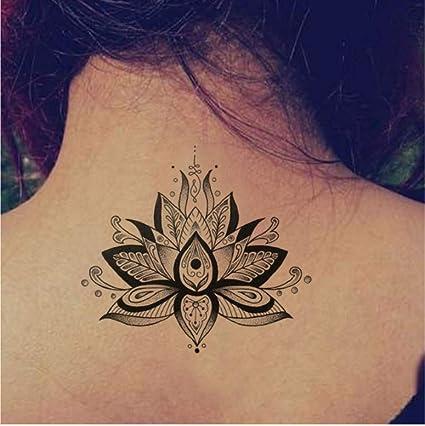 ZHAOHH Lotus Gran Etiqueta Engomada del Tatuaje Temporal A Prueba ...
