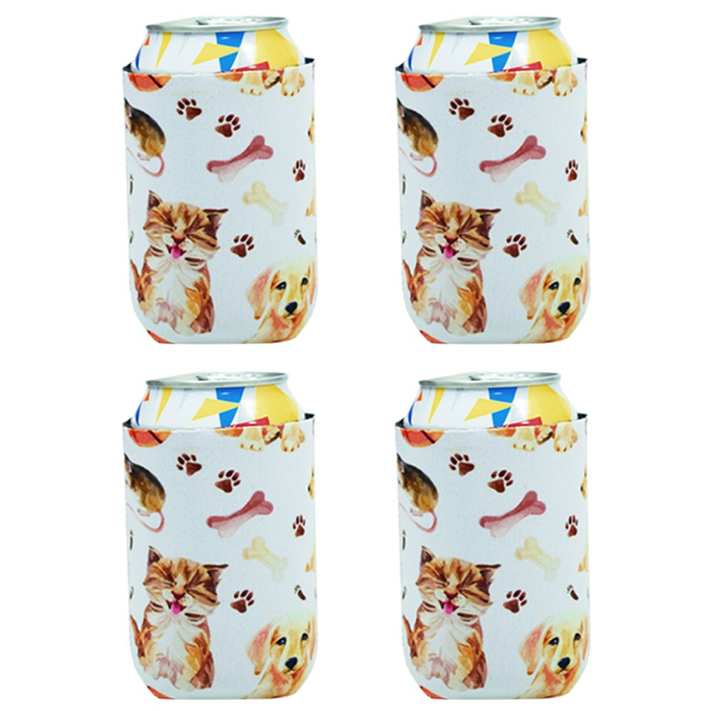 Acelane Neoprene Can Cooler Sleeves, Collapsible Holder, Insulated Carrier for Parties, Picnics Family Reunions and Outdoors - Set of 4 .