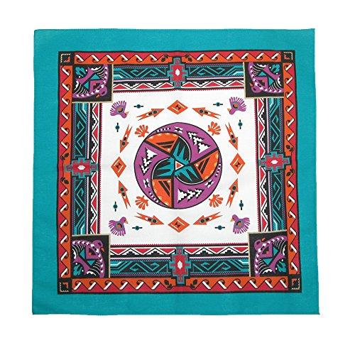 CTM Women's Cotton Aztec Turquoise Bandanas, (Aztec Costumes For Sale)