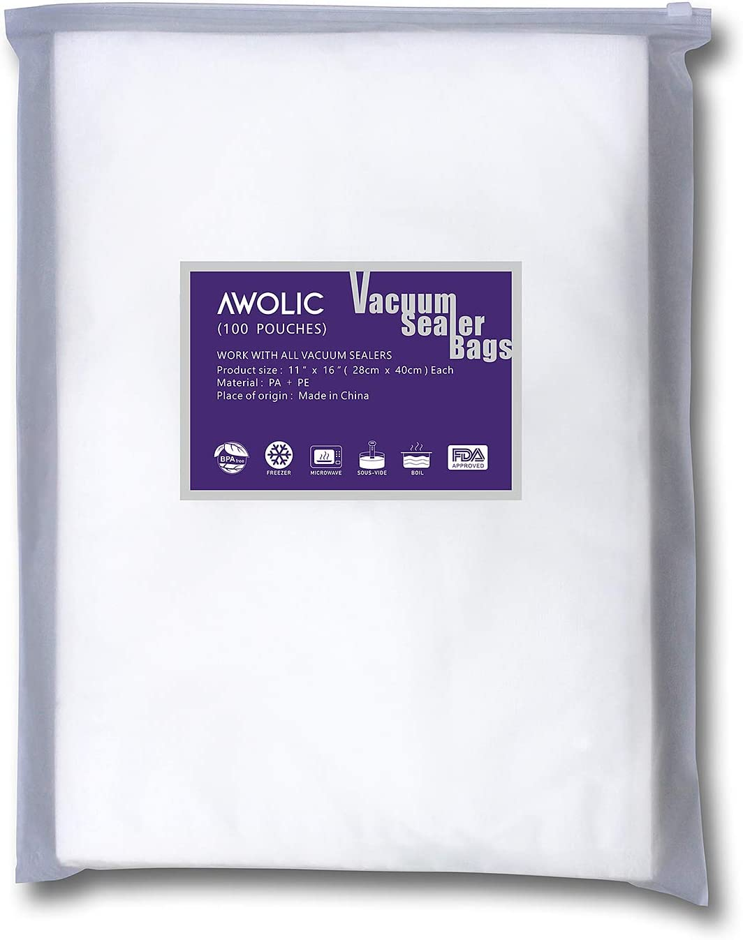 """AWOLIC Vacuum Sealer Bags,100 Gallon Size 11""""x16"""" BPA Free,Commercial Grade, Heavy Duty, Sous Vide,food saver bags work on any clamp external vacuum system."""