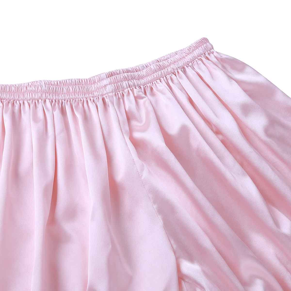 inlzdz Mens Frilly Shiny Satin Lace Boxer Briefs Bloomers Sissy Panties Knickers Underwear