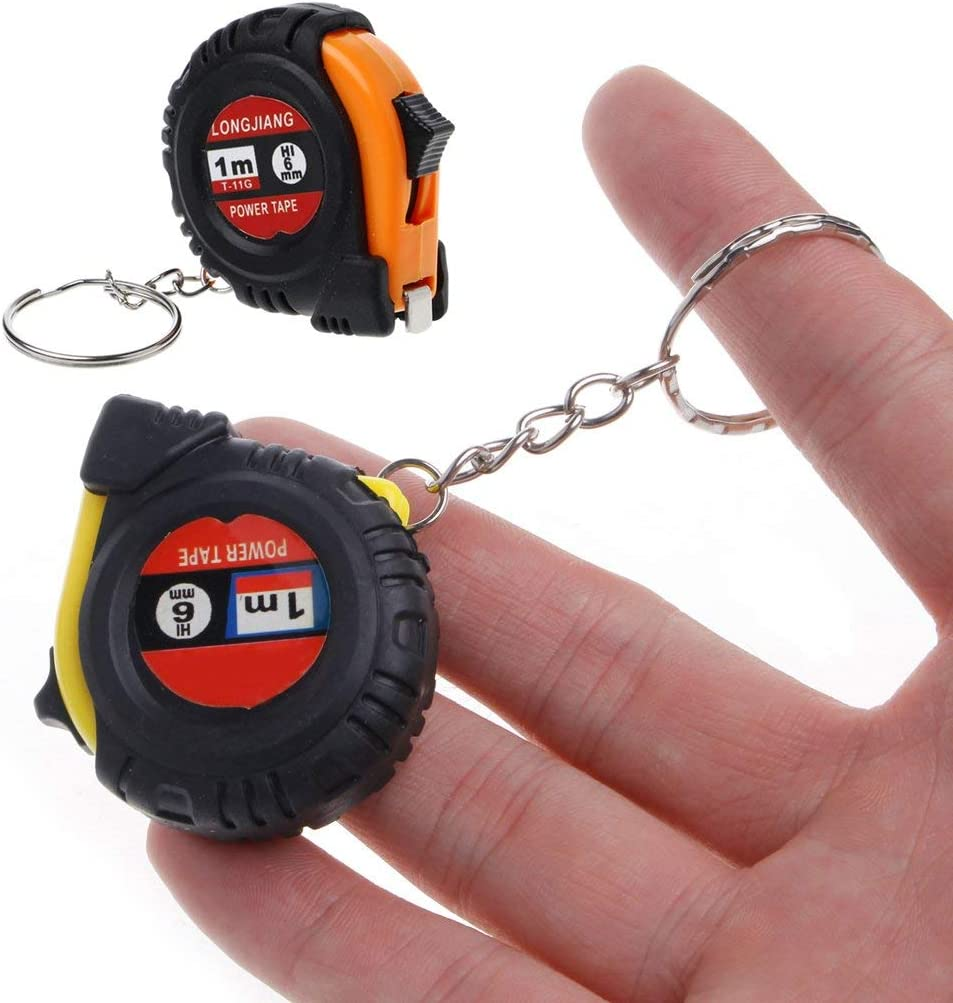 Fliyeong Pull-Out Ruler Tape Measure Key Chain Mini Pocket Size Metric 1m Stylish and Popular