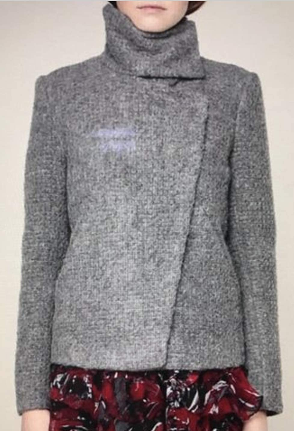 IRO Sonay Womens Sonay Snap-Front Boucle Jacket Mohair Wool Womens Size 38 Gray